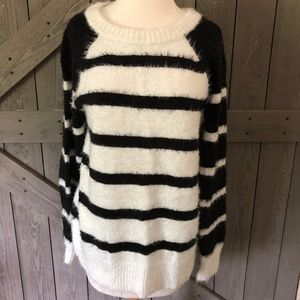 Loft Cozy Black White Striped Sweater